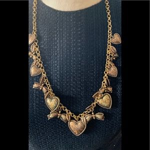 VINTAGE GOLD CHARM /BASS HEARTS & BOWS NECKLACE!